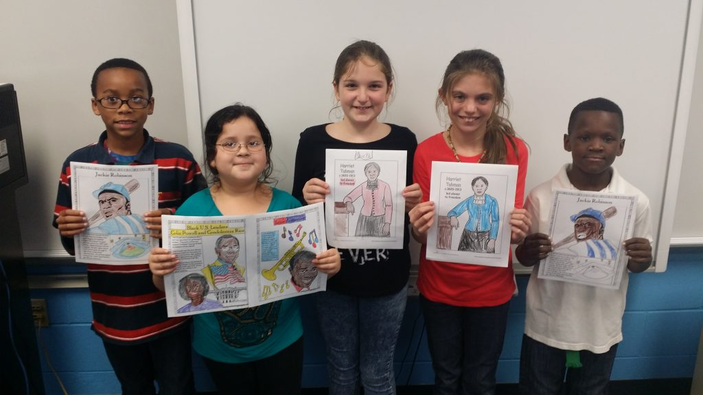Students with completed projects about significant historical figures