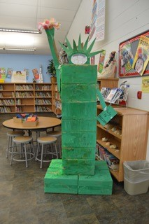 Statue of Liberty, made of boxes