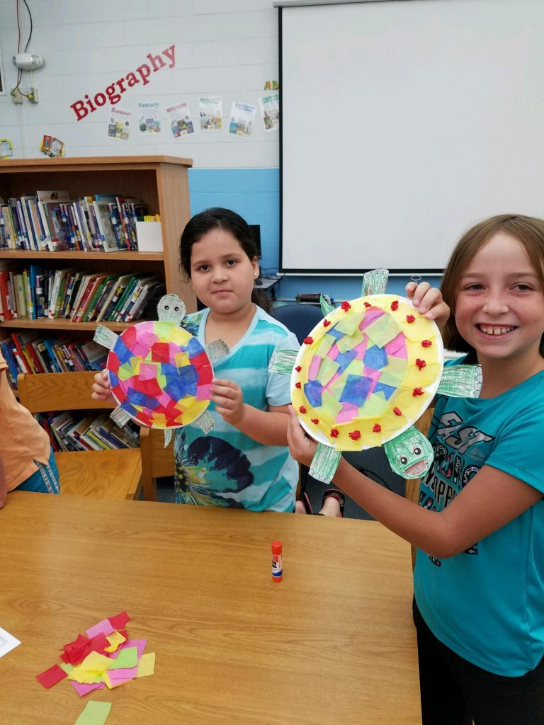 Students doing arts and crafts at Summer Camp